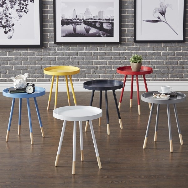 Marcella Paint-Dipped Round Tray-Top Side Table by iNSPIRE Q MODERN. Opens flyout.