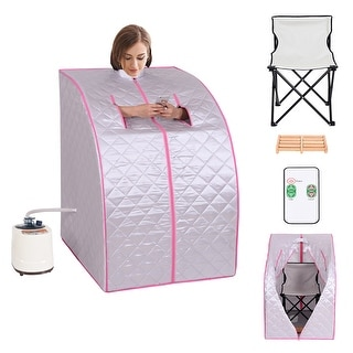 Portable 2L Steam Sauna Spa Full Body Detox Therapy W/chair - sliver