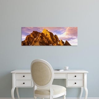 Easy Art Prints Panoramic Image 'mountain peak at dusk, Teton Range, Grand Teton National Park, Wyoming' Canvas Art