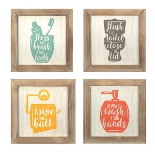 Set Of 4 -Floss, Flush, Wipe, Wash Wall Art