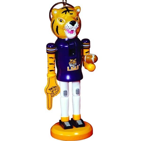 "6"" NCAA LSU Tigers Football Mascot Wooden Nutcracker Christmas Ornament"