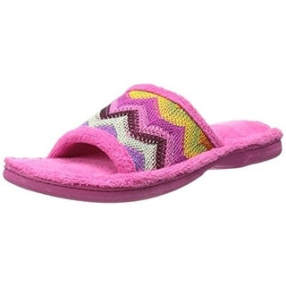 Dearfoams Womens Fleece Colorblock Slide Slippers - 5-6 medium (b,m)