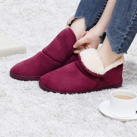 Womens Plush Warm Ankle Bootie Slippers Indoor/Outdoor Boots