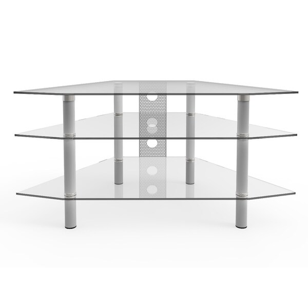 """Ryan Rove Ruby 44"""" Corner Glass TV Stand - Silver and Clear Glass - 44""""W x 24""""D x 22""""H. Opens flyout."""