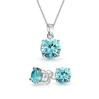 Bling Jewelry Light Blue CZ Set 7mm Sterling Silver Stud Set