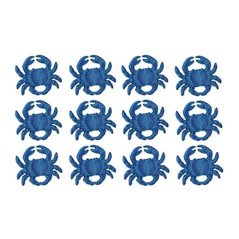 Set of 12 Distressed Finish Coastal Blue Cast Iron Crab Drawer Pulls - 2.25 X 2.75 X 1 inches