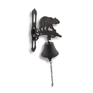 Wall Mounted Cast Iron Bear Bell with Rust Patina - 6.75 X 10.25 X 2.25 inches