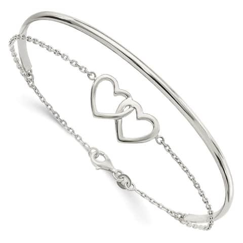 925 Sterling Silver Double Heart and Bangle Bracelet (7.97grm)