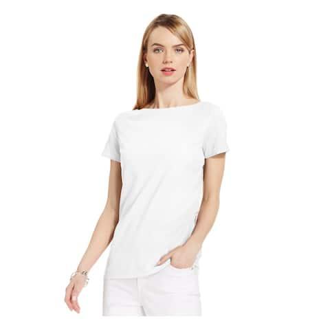 JONES NY Womens White Short Sleeve Jewel Neck T-Shirt Top Size XL