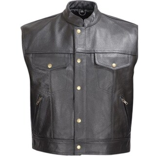 Men Leather Motorcycle Biker Vest Classic Design Black V110