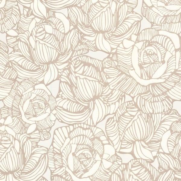 Brewster 450-67344 Calista Beige Modern Rose Wallpaper - beige rose - N/A