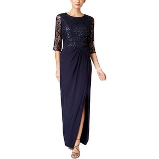 Alex Evenings Womens Evening Dress Sequined Gathered