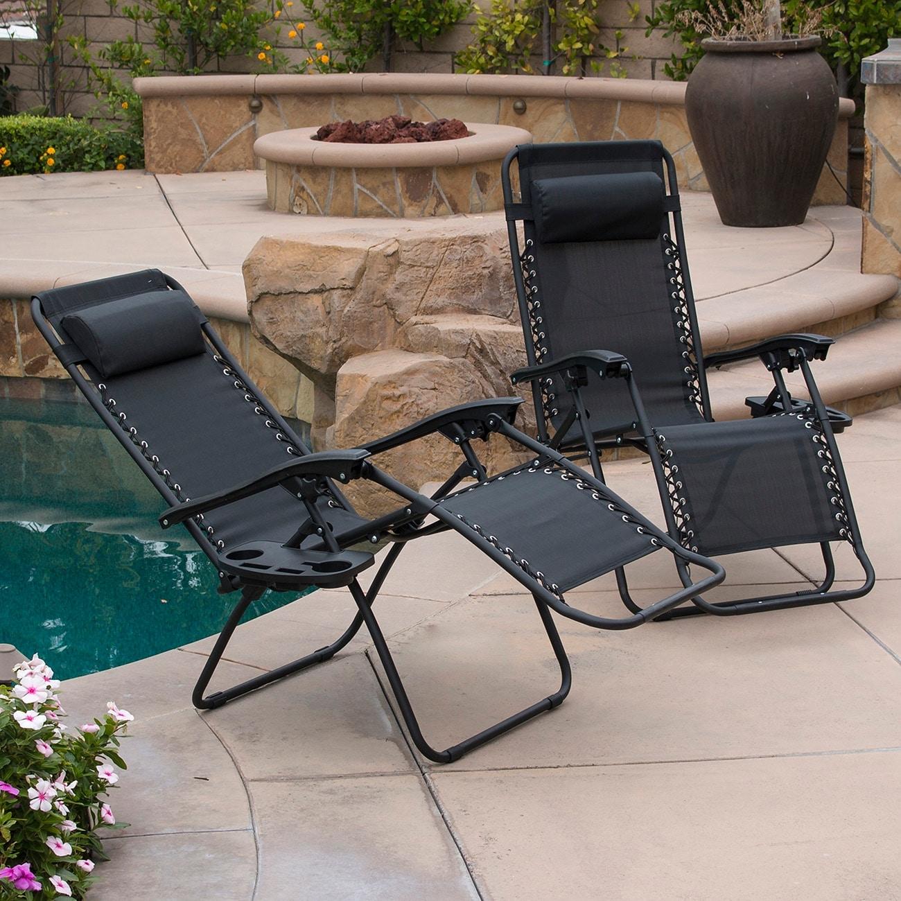 2 Zero Gravity Lounge Chairs Tan Recline Folding Portable