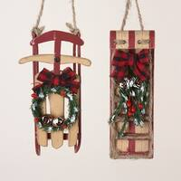 Club Pack of 24 Wooden Sled and Toboggan Christmas Ornaments - multi