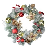 Pre-Decorated Red and Gold Lightly Flocked Artificial Christmas Wreath - 24-Inch, Unlit