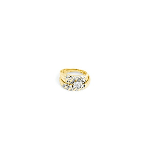 Shop 14k Yellow Gold Square Cluster Diamond Matching Mens
