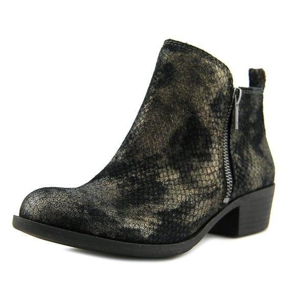 Lucky Brand Basel Women Round Toe Leather Black Ankle Boot