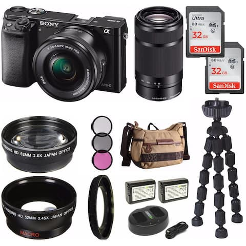 Sony Alpha a6000 Mirrorless Digital Camera w/ Lens & Accessory Bundle
