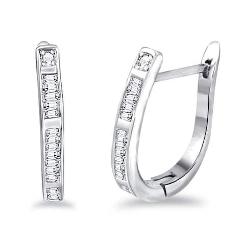 Sterling Silver Diamond Baguette, Round Hoop Earrings by Diacrown
