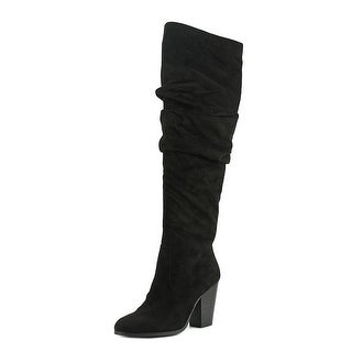 Carlos by Carlos Santana Hazey Women Round Toe Canvas Black Over the Knee Boot