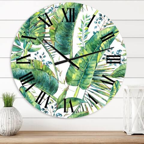 Designart 'Vintage Pattern Of Banana Leaves' Lake House wall clock