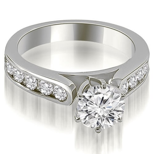 1.75 cttw. 14K White Gold Cathedral Style Round Cut Diamond Engagement Ring