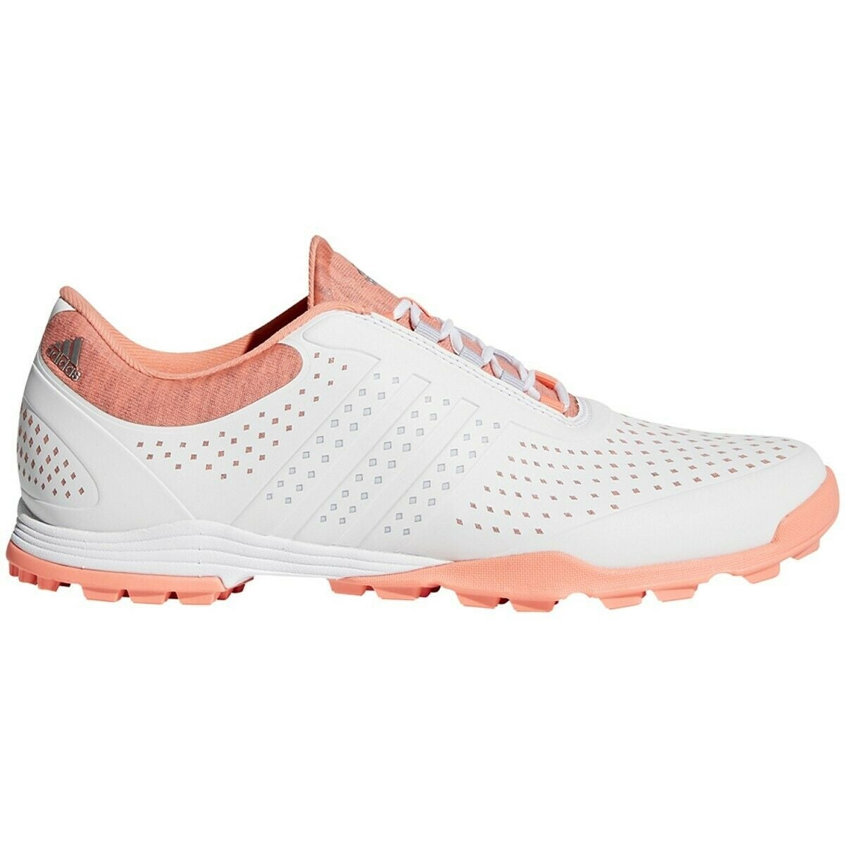 New Adidas Women's Adipure Sport Golf Shoes White/Aero Blue/Chalk Coral DA9133