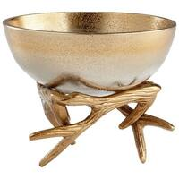Cyan Design Small Antler Anchored Bowl Antler 6.25 Inch Diameter Aluminum Decorative Bowl Made in India