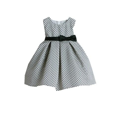 Sweet Kids Baby Girls Black Petite Polka Dot Pleated Flower Girl Dress