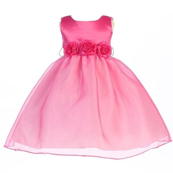 Baby Girls Fuchsia Satin Organza 3 Flower Sash Flower Girl Dress 12-24M