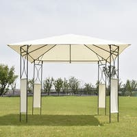Costway 10'x10' Square Gazebo Canopy Tent Shelter Awning Garden Patio W/Beige Cover