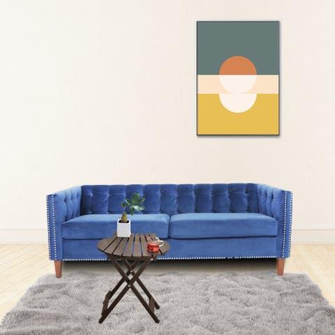 Light Luxury Blue Velvet Fabric Three Seater Sofa with Reversible Cushion