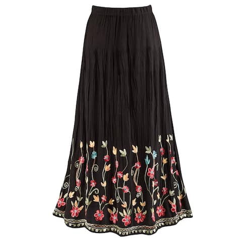 e3269e4661 Catalog Classics Women's Floral Embroidered Flowering Vines Maxi Skirt -  Black
