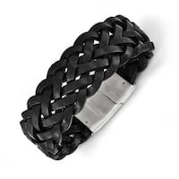 Chisel Stainless Steel Polished Black Leather Bracelet