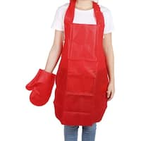 Household Restaurant Kitchen Non-woven Fabric Cooking Apron Bib Dress Glove Red