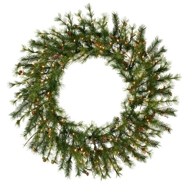 """60"""" Pre-Lit Mixed Country Pine Commercial Christmas Wreath - Clear Dura Lights - green"""