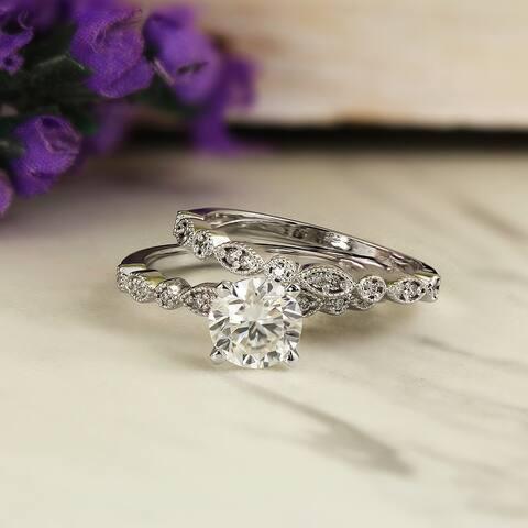 Auriya 1 carat TW Vintage Moissanite and Diamond Engagement Ring Set 14k Gold