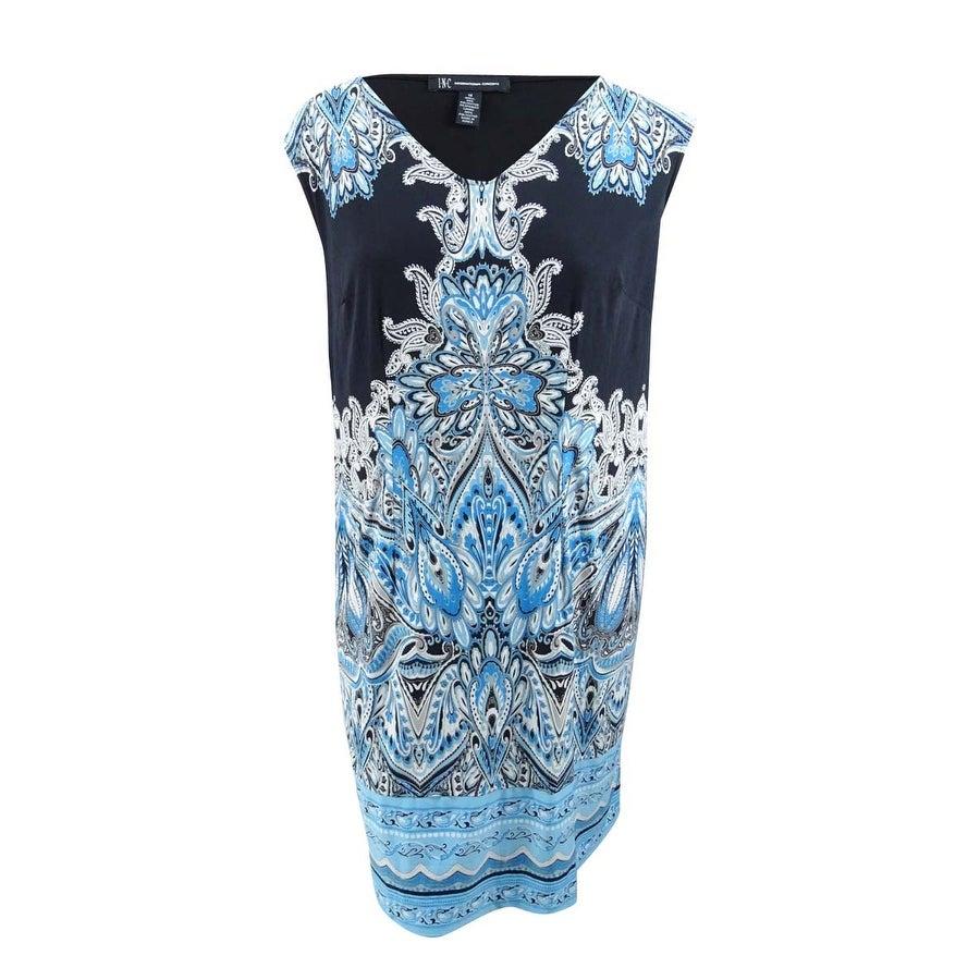 INC International Concepts Womens Plus Size Printed Shift Dress - Paisley Blue