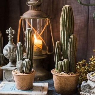 RusticReach Artificial Cactus in Brown Pot