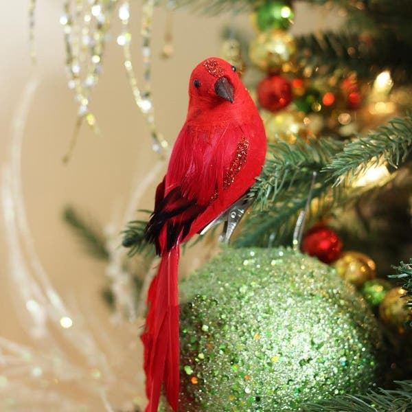 Glitter Bird Christmas Tree Decoration with Long Tail 35cm Silver