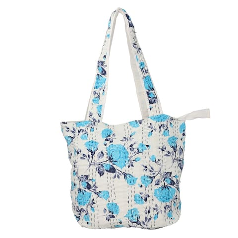 Handcrafted White Blue Kantha Theme Fabric Tote Bag with Handle Drop - 14x18.5 Inches