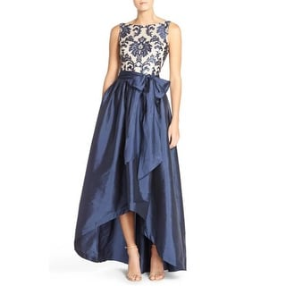 Adrianna Papell Women's High Low Taffeta Ball Gown with Embroidered Lace Bodice