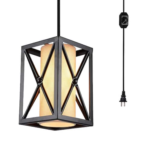 Vintage industrial dimmer switch plug in cage black pendant light