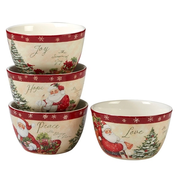 4pc White and Red Holiday Wishes Thanksgiving Ice Cream Bowl Set 5.5. Opens flyout.