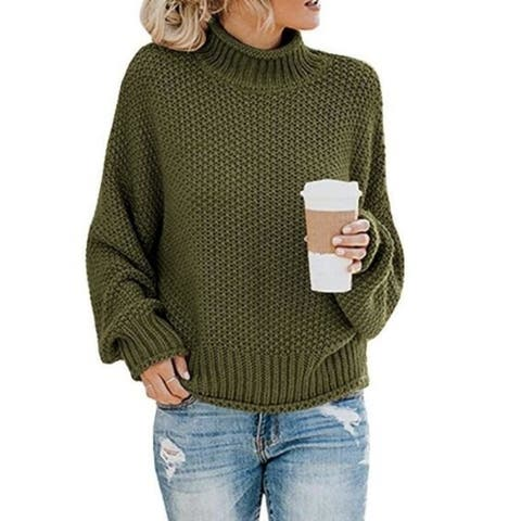 Turtleneck Chunky Knit Pullover Sweater