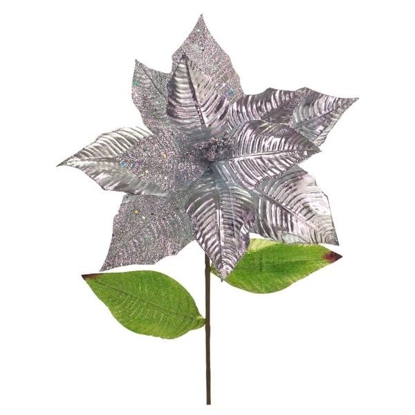 """Club Pack of 24 Festive Artificial Metallic Glittered Poinsettia Stem 25"""" - silver"""