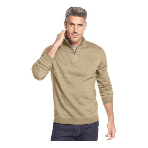 John Ashford Mens Quarter-Zip Sweatshirt, Off-white, Small