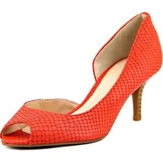 Tahari Jessie Women Open-Toe Leather Orange Heels