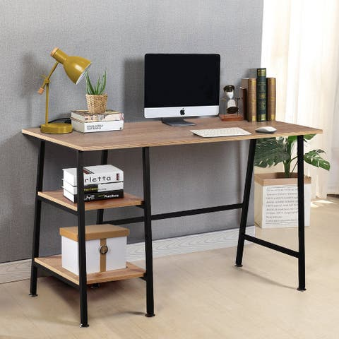 Computer Storage Desk with Removeable 2 Tier Shelves for Office
