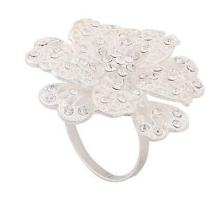 Household Metal Flower Detail Dinner Napkin Serviette Holder Ring Silver Tone